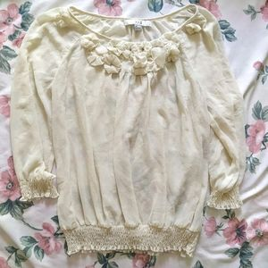 Forever 21 Cream Chiffon Sheer Top Blouse